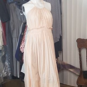 FP FREE PEOPLE PEACH MIDI BOHO LIGHTWEIGHT DRESS M